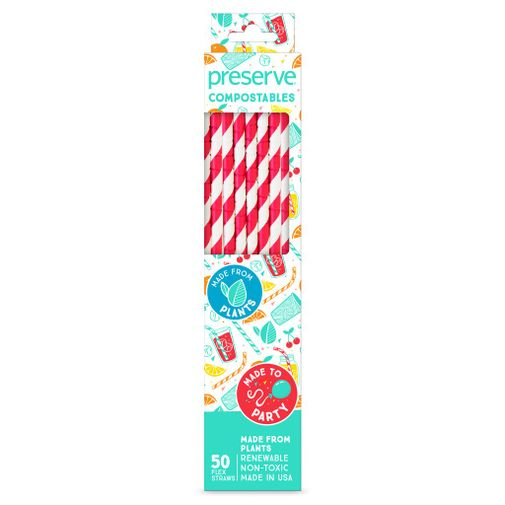 Preserve Straws Compostable Red 50c