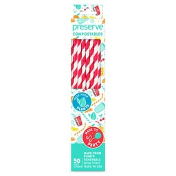 [631740750025] Preserve Straws Compostable Red 50c