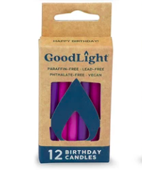 [680443011452] Goodlight Natural Candle Birthday Pink Purple 12c